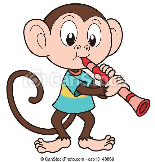 cartoon monkey playing a clarinet cartoon monkey playing a clarinet rh canstockphoto com