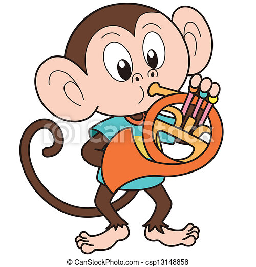 cartoon monkey playing a french horn clipart vector search rh canstockphoto com marching french horn clip art french horn clip art black and white