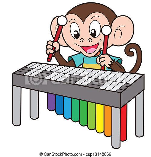 Cartoon monkey playing...
