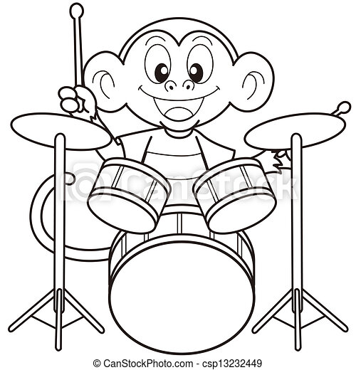Cartoon Monkey Playing Drumsblack And White