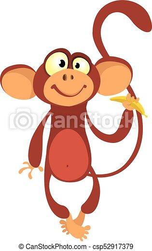 cartoon monkey vector illustration cute primate monkey vectors rh canstockphoto com monkey vector free monkey vector silhouette