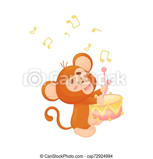 Cartoon monkey with a drum. Vector illustration on a white background. - csp72924994