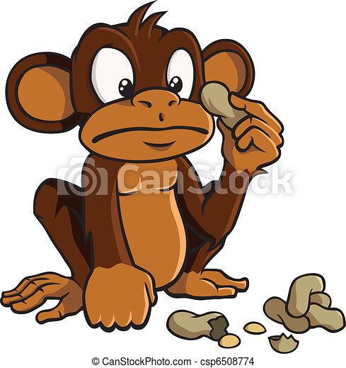 Cartoon monkey with peanuts - csp6508774