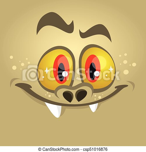 cartoon monster face vector halloween red monster avatar with wide