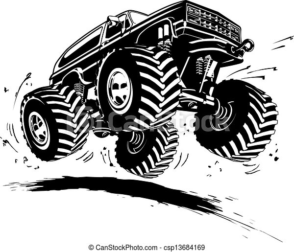 Cartoon Monster Truck - csp13684169