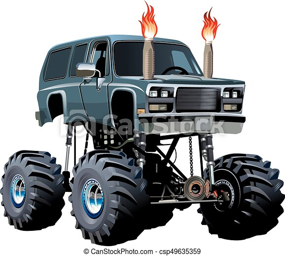 cartoon monster truck available eps 10 separated by groups rh canstockphoto com blaze monster truck clipart monster truck tire clipart