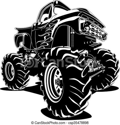 Cartoon Monster Truck - csp35478898