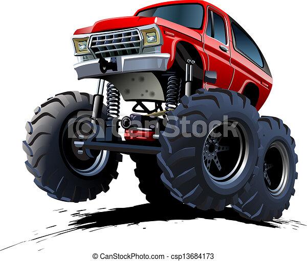Cartoon Monster Truck - csp13684173