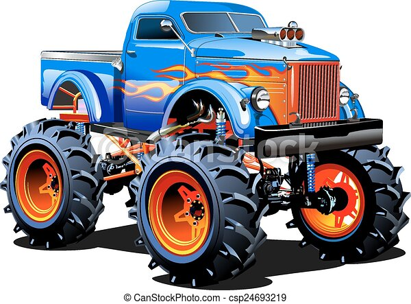 Cartoon Monster Truck - csp24693219