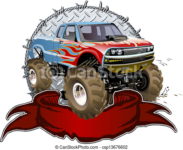 Cartoon Monster Truck - csp13676602