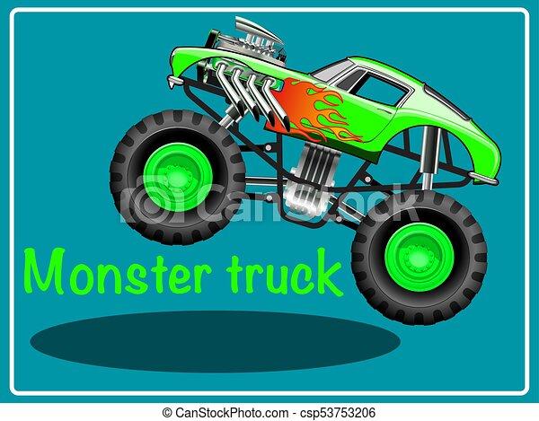 cartoon monster truck vector illustration clip art