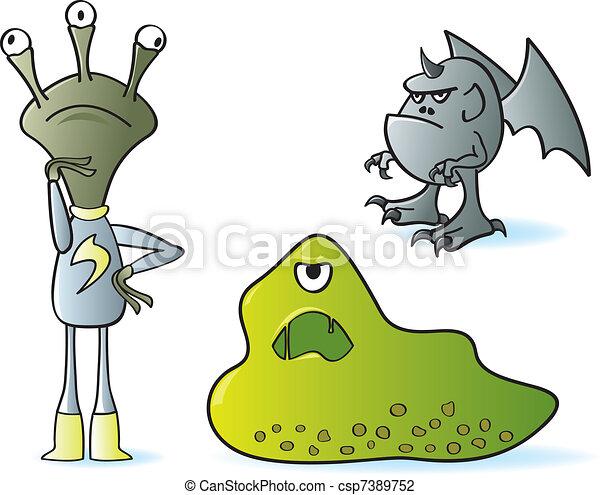 Cartoon Monsters - csp7389752