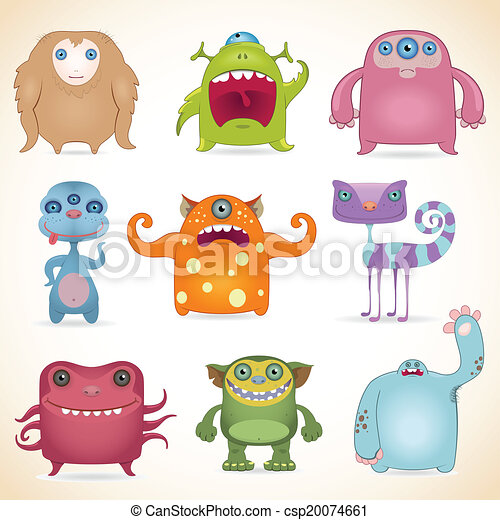 Cartoon monsters set - csp20074661