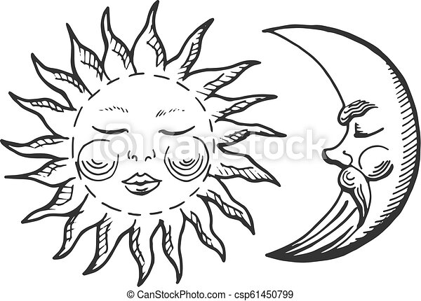 Vector Illustration Of A Cartoon Moon And Sun Icons Vintage Engraving