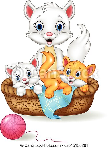 vector illustration of cartoon mother and baby cat