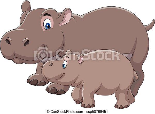 vector illustration of cartoon mother and baby hippo clipart vector rh canstockphoto co nz Baby Orangutan Baby Hippopotamus