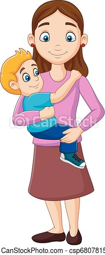 Cartoon mother carrying a boy in her arms