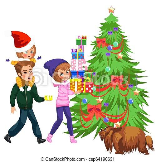 Mother Christmas Cartoon.Cartoon Mother Putting Presents Under Christmas Tree