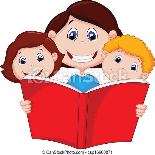 Cartoon Mother reading book to her  - csp16600871