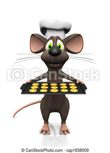 Cartoon mouse baker. - csp1838009