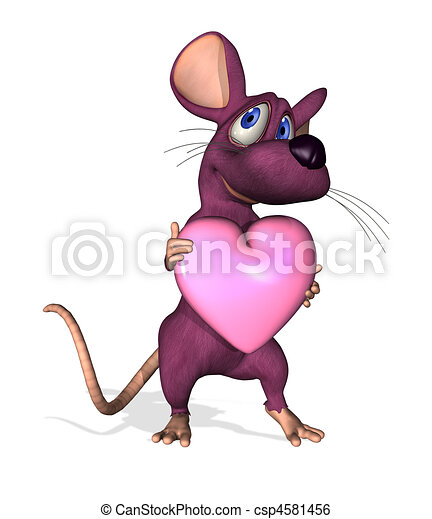 Cartoon Mouse With Heart 3d Render Of A Cute Cartoon Mouse Holding