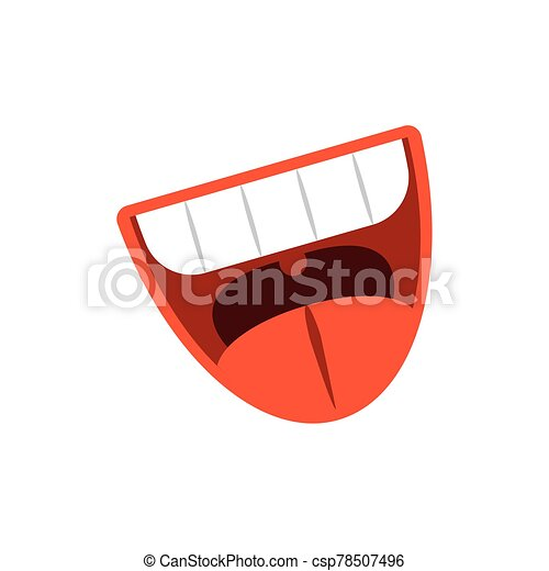 cartoon mouth laughing, flat style icon - csp78507496