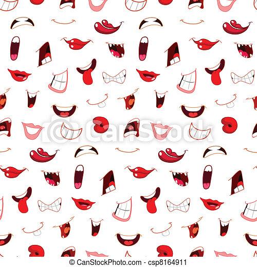 Cartoon mouths pattern - csp8164911