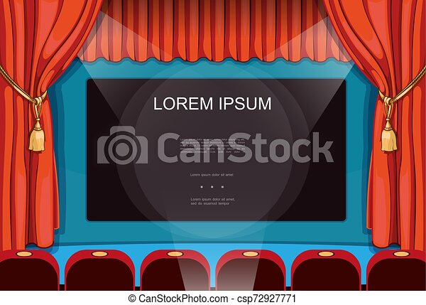 Cartoon Movie Premiere Concept Cartoon Movie Premiere Concept With Red Elegant Curtains Big Screen And Seats In Cinema Vector Illustration
