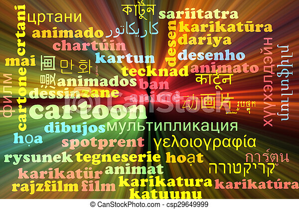 Cartoon multilanguage wordcloud background concept glowing - csp29649999