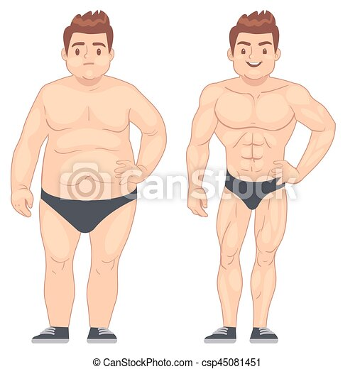 Cartoon Muscular And Fat Man Guy Before And After Sports Weight Loss And Diet Vector Lifestyle Concept Body Male Muscle