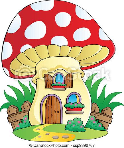 Cartoon mushroom house - csp9390767