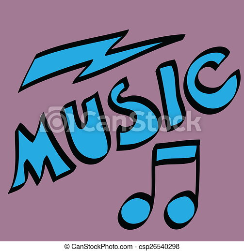 cartoon music word and musical note csp26540298