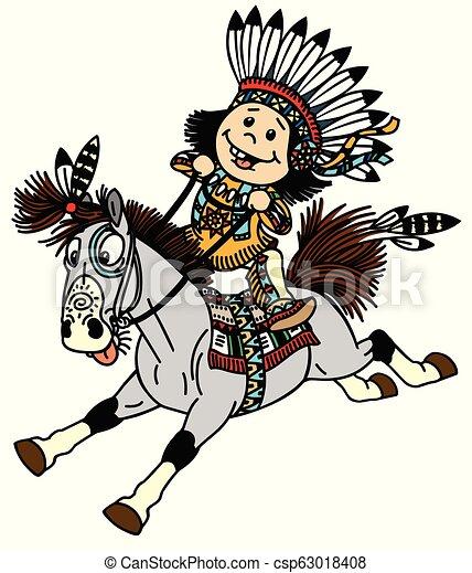 Cartoon Native Indian Boy Cartoon Native Indian Boy Wearing A