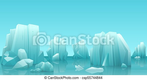Cartoon nature winter arctic ice landscape with iceberg, snow mountains rocks hills. Vector game style illustration. - csp55744844