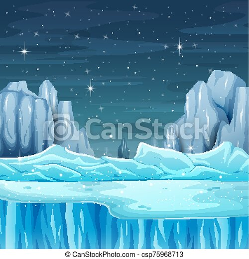 Cartoon nature winter landscape with iceberg - csp75968713