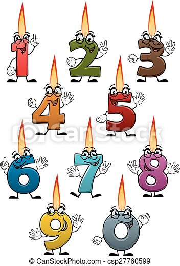 Cartoon Numbers Characters With Birthday Candles