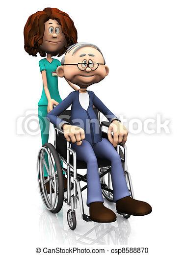 Cartoon nurse helping older man in wheelchair. - csp8588870
