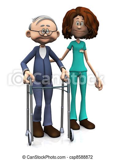 Cartoon nurse helping older man with walker. - csp8588872