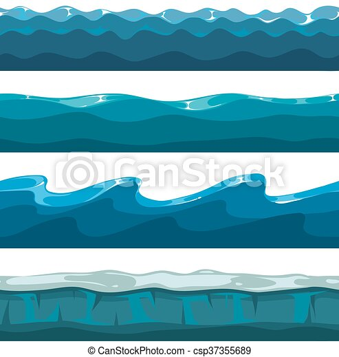 Cartoon Ocean Sea Water Waves Vector Seamless Patterns