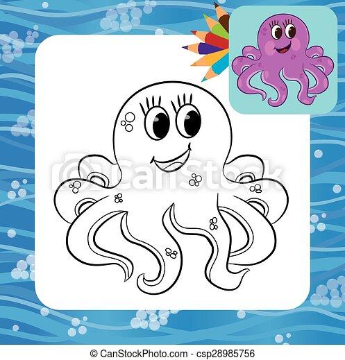 Cartoon Octopus Coloring Page Vector Illustration