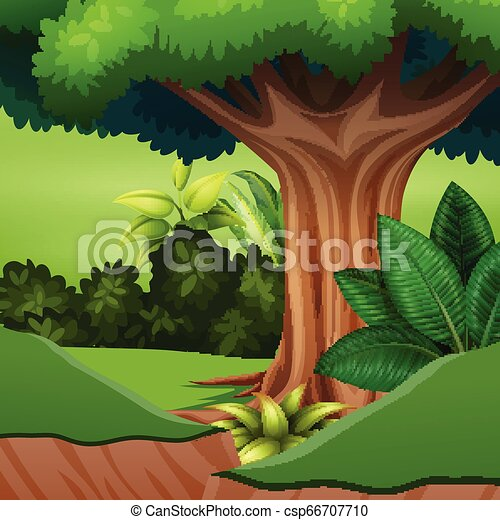 Cartoon of a big tree at the forest - csp66707710