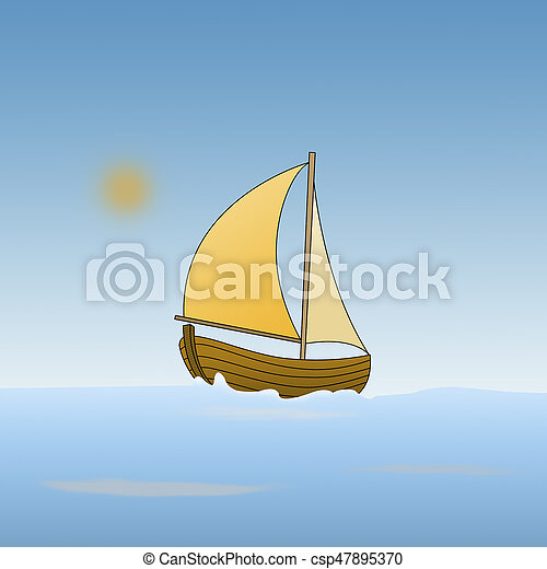 Cartoon of a boat in the sea - csp47895370