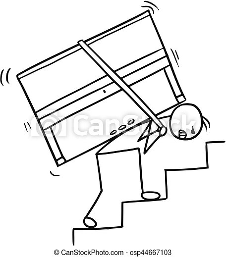 Cartoon of a Man Carrying a Piano up the Stairs - csp44667103