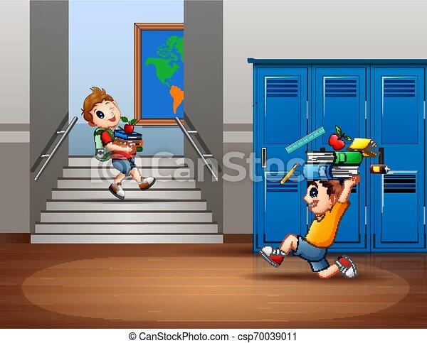 Cartoon of boys carrying a school supplies - csp70039011