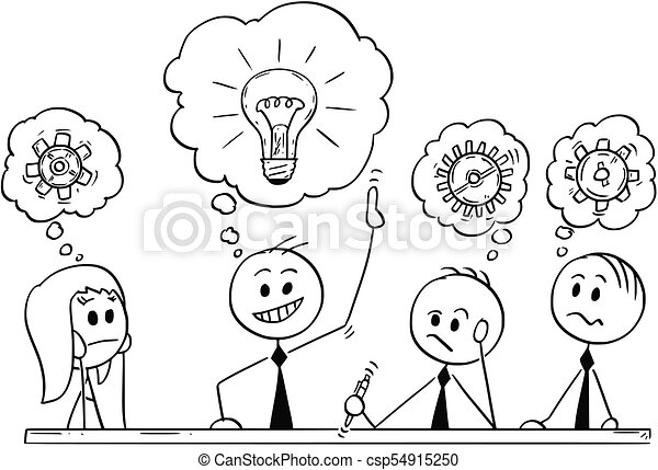 cartoon of business team meeting and brainstorming cartoon stick