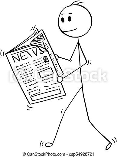 Cartoon Of Businessman Reading News In Newspaper Cartoon Stick Man