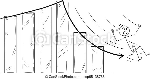 Cartoon of Businessman Slipping or Sliding Down the Falling Business Chart Arrow - csp65138766