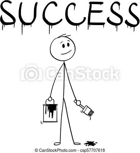 cartoon of businessman with brush and paint can painting the word success cartoon stick man drawing conceptual illustration https www canstockphoto com cartoon of businessman with brush and 57707618 html