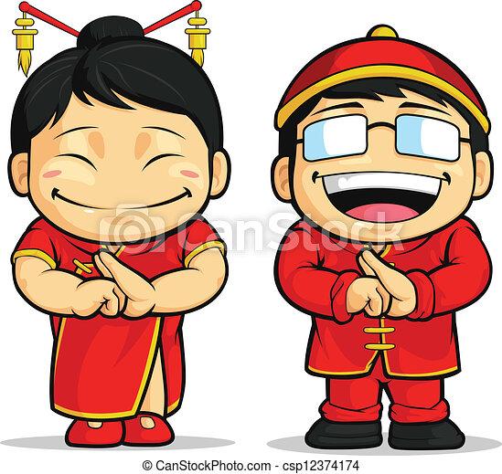 Cartoon of Chinese Boy & Girl - csp12374174