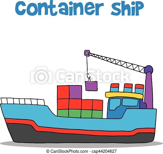 Cartoon of container ship vector art illustration vector illustration - Search Clipart, Drawings ...
